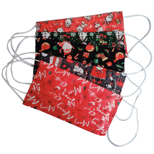 KID CHRISTMAS DISPOSABLE FACE MASKS (5 COLOR ONE BOX)