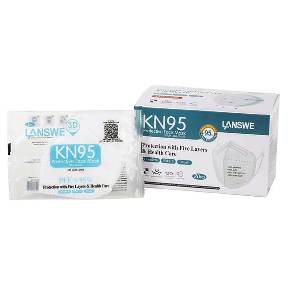 Premium LANSWE 5-Ply KN95 Face Mask / 1pcs per bag 20pcs per box