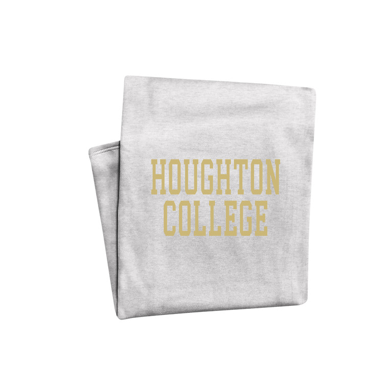 Marble Heather Gray Houghton College Sweatshirt Blanket