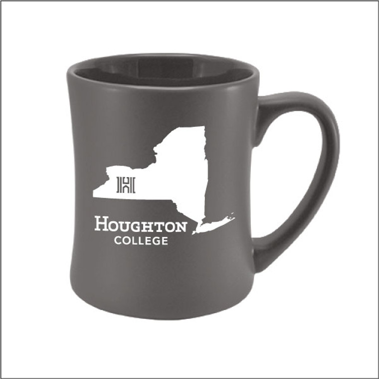 Houghton College New York State Etched Gray Matte Mug