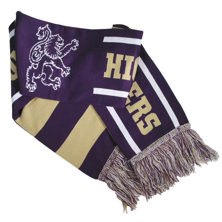 Knit Purple and Gold Houghton Scarf