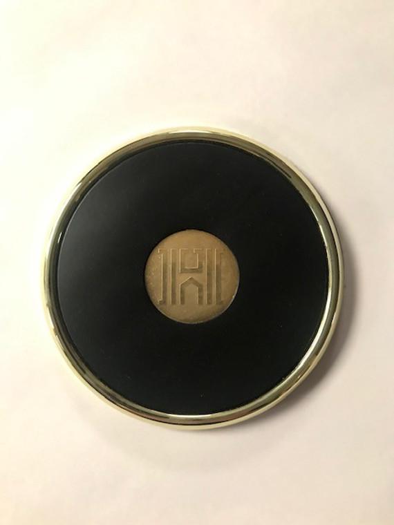 Gold Tone & Leather Coaster