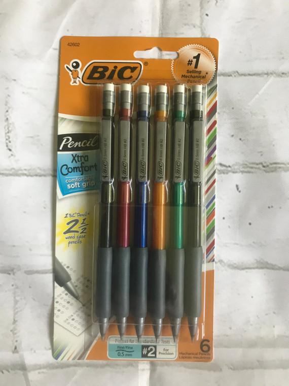 BIC Mechanical Pencil Xtra Comfort, 0.5 mm, Assorted Barrel 6 count