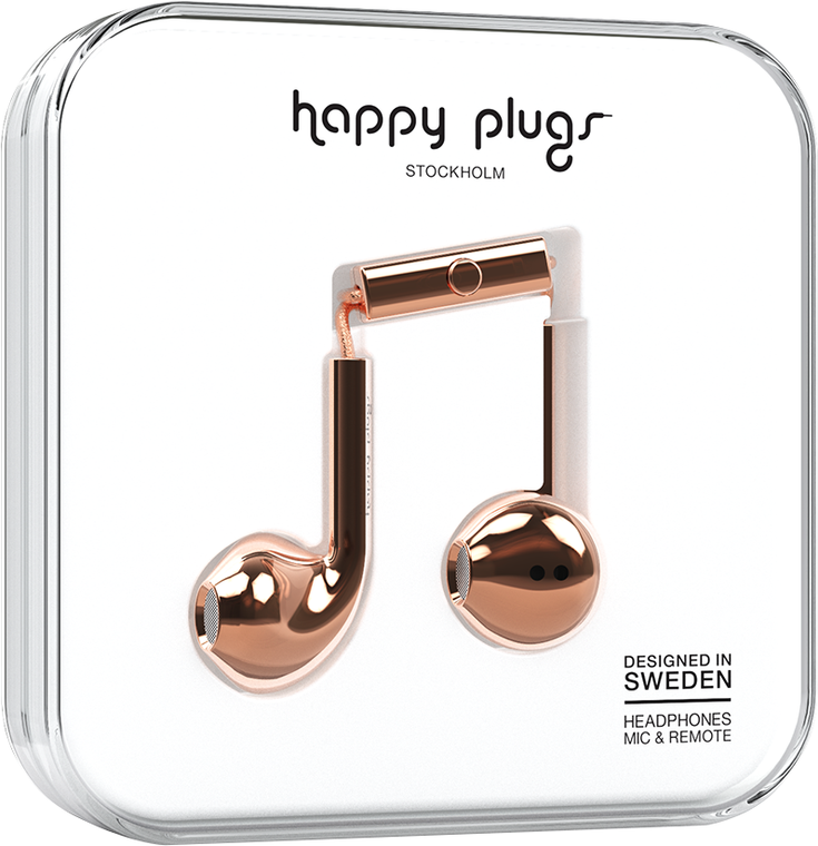happy plugs earbuds plus with mic and remote rose gold