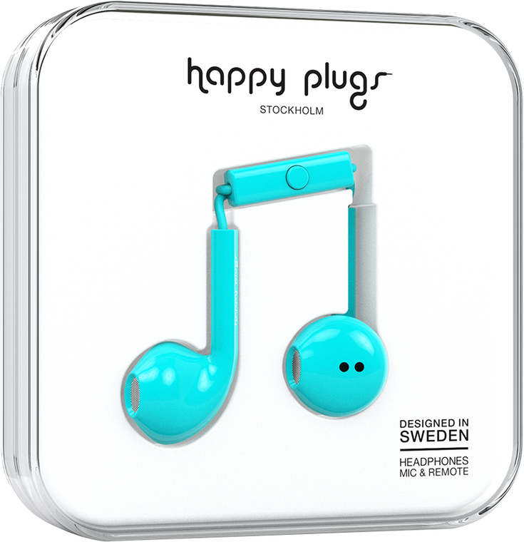 happy plugs earbuds plus with mic and remote turquoise