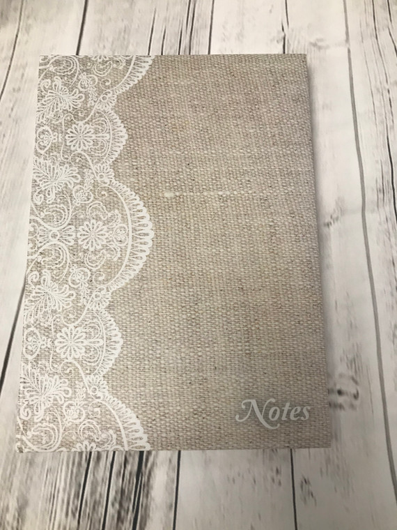 Large Journal with Beige Lace