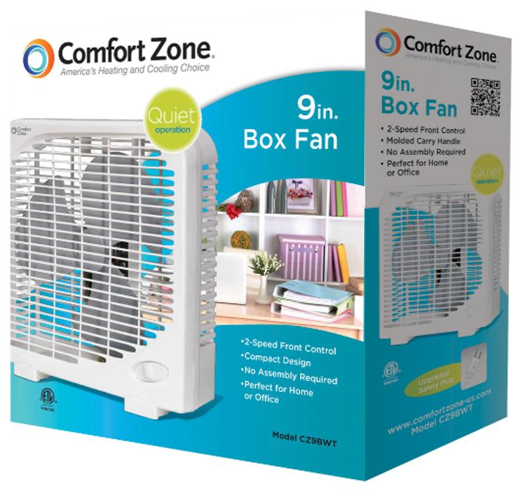 Comfort Zone 3 Speed Portable Box Fan