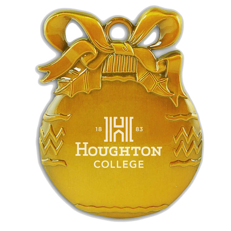 Houghton College Bulb Pewter Christmas Ornament