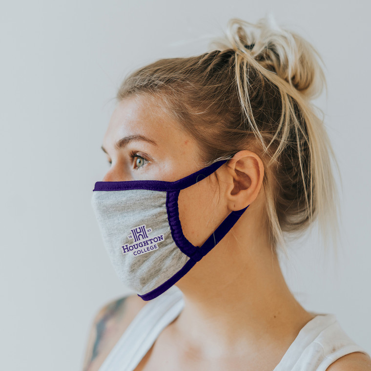 Houghton College Mask with H Logo in Purple