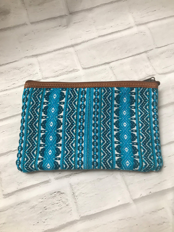 Turquoise Leather Wristlet