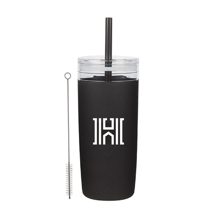 Black Houghton Acrylic Tumbler with Silicone Sleeve with Houghton logo H