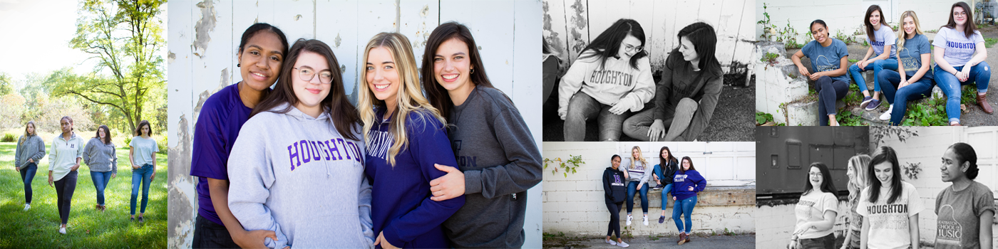 Houghton students wearing Houghton apparel in various locations
