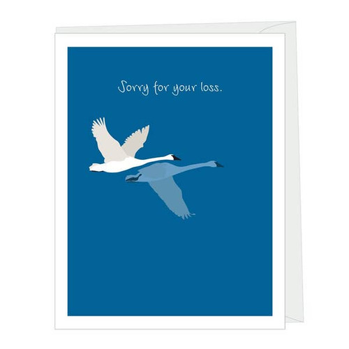 Sorry for your loss card with swans