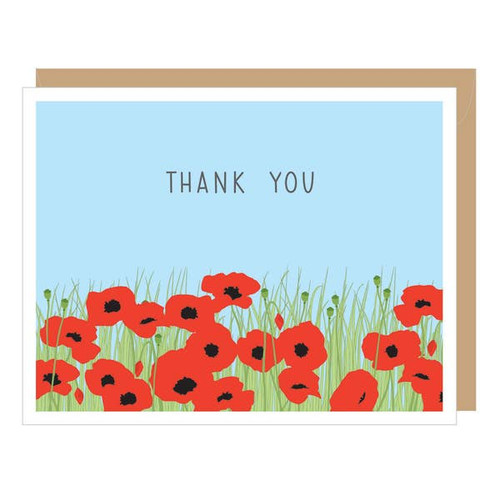 Apartment 2 Cards Poppy Field Thank You Card