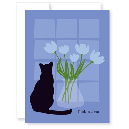 Thinking of you pet cat sympathy card.