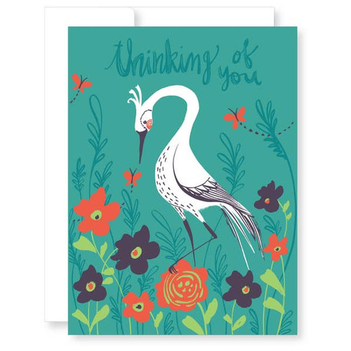Sympathy card with white heron