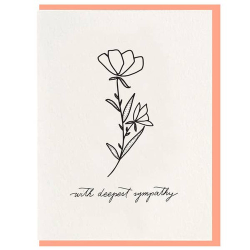 Modern letterpress flower sympathy card from Dahlia Press