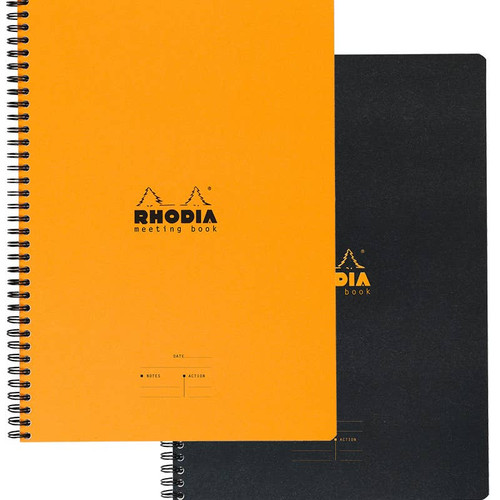 "Rhodia Wire Bound A5 Meeting Book (6.5"" x 8.25"") - Orange or Black"