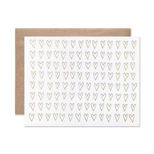 Gold Foil Hearts Letterpress Card by Hartland Brooklyn