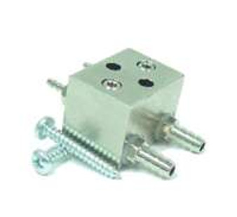 """Syringe Flow Control Block, 10-32 Barbs for 1/8"""" & 1/4"""" O.D. Tubing"""