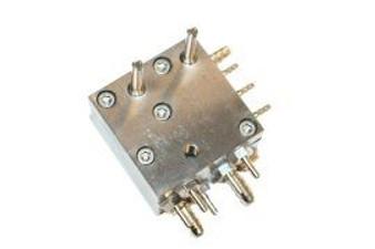 """P&C / Marus Automatic Handpiece Block Single-Piece Assy., Twin-Block w/ Std. Adjustment Screws, Dimensions 1 1/2"""" x 1 1/2"""" x 1"""""""