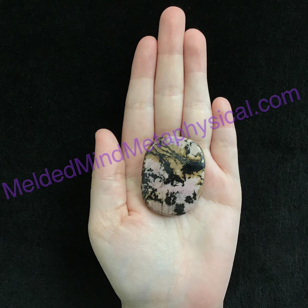 MeldedMind154 Rhodonite Palm Stone 44mm Smooth Worry Pocket Metaphysical