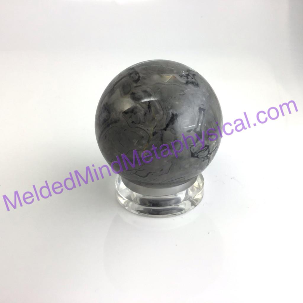 MeldedMind Picasso Jasper Sphere 2.61 in 66mm Black White Grey Home Decor 038