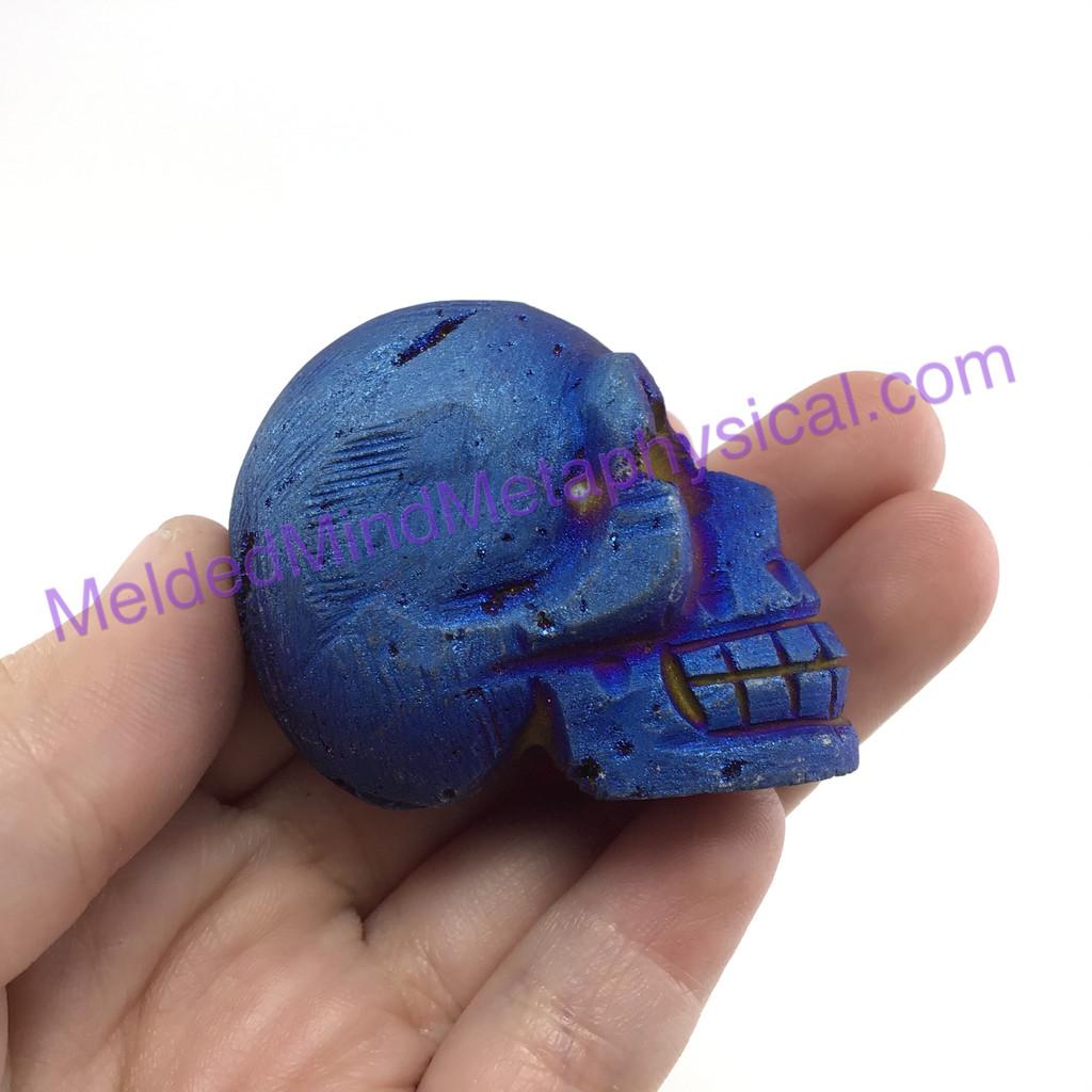 MeldedMind207 Titanium Coated Pyrite Skull 1.53 in 39mm Display Healing