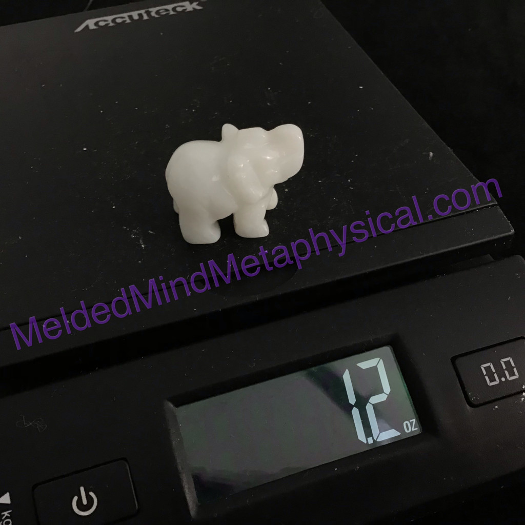 MeldedMind One (1) Polished White Quartz Elephant Home Decor Animal 160