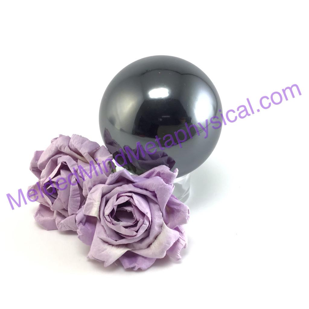 MeldedMind Hematite Sphere 2.25in 56mm Altar Mineral Black 238