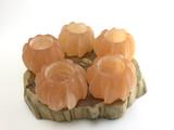 One (1) Orange Selenite Tea Candle Decor Energy Cleansing
