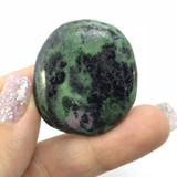 African Ruby Zoisite Palm Smooth Stone 180619 40mm Crystal Mineral Specimen