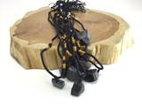 Black tourmaline with adjustable sizing black rope necklace crystal pendant jewe