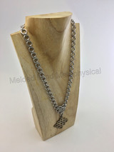 Chainmaille Japanese 2in1 Chain with a 12in1 Triangle Weave Attached Celtic Knot