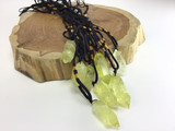 Citrine crystal with adjustable sizing black rope necklace jewelry holistic yell