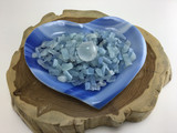MeldedMind Artistic glass heart shaped bowl with aquamarine chips and clear quar