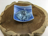 MeldedMind Artistic glass bowl with aquamarine chips and clear quartz sphere, ho