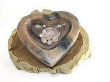 MeldedMind Promote Self Love, sunstone bowl with Rose Quartz tumbles, sunstone a