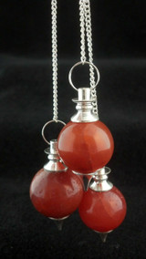 One (1) Carnelian Sphere Pendulum Metaphysical Crystal Healing Card&Bag