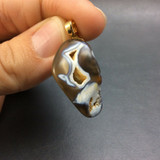 Agatized Fossil Coral Pendant 170803 with Gold Colored Metal jewelry