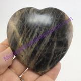 MeldedMind Large Black Moonstone Crystal Heart 77mm 7oz Healing Specimen 235