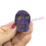 MeldedMind Titanium Coated Pyrite Skull 40mm 2oz Display Healing