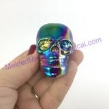 MeldedMind254 Titanium Aura Carved Skull 42mm 3oz Display Decor Rainbow Energy