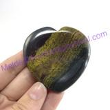 MeldedMind117 Natural Tiger Iron Thumb Stone Heart 53mm Hematite Worry Stone