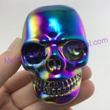 MeldedMind Titanium Aura Coated Quartz Carved Skull 74mm 8.92oz Display Decor Rainbow Energy 147