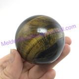 MeldedMind Polished Golden Tiger's Eye Sphere 55mm Smooth Healing Metaphysical 076