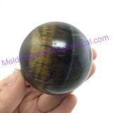 MeldedMind Polished Golden Tiger's Eye Sphere 54mm Smooth Healing Metaphysical 077