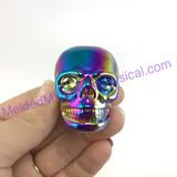 MeldedMind Titanium Aura Coated Quartz Carved Skull 39mm Display Decor Rainbow Energy 255