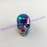 MeldedMind251 Titanium Aura Coated Quartz Carved Skull 41mm Display Decor Rainbow Energy