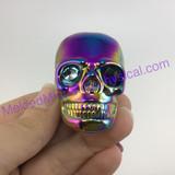 MeldedMind Titanium Aura Coated Quartz Carved Skull 42mm Display Decor Rainbow Energy 253